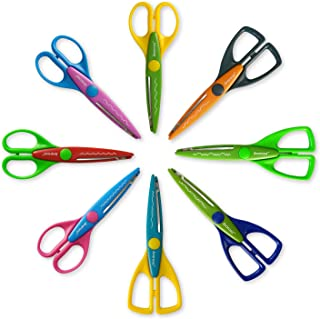 Colorful Decorative Paper Edge Scrapbooking Kids Craft Scissors Set, 8 Pack, Sharp and Durable Blade, Easy to Use. Ideal f...