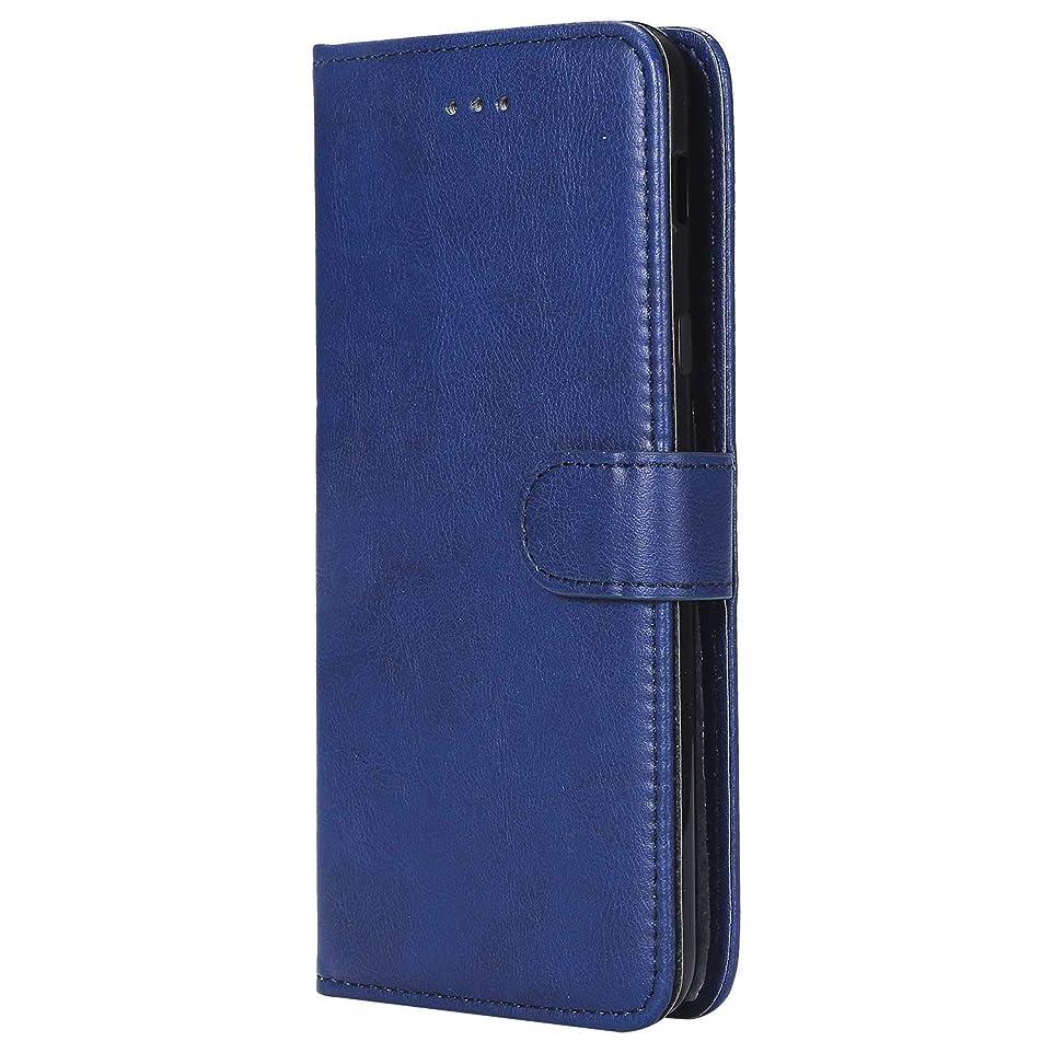 戦争ラケットのOMATENTI Galaxy A6 Plus ケース, 高級感 手帳型 手作りレトロケース, 衝撃吸収 落下防止 防塵 マグネット開閉式 プロテクター Samsung Galaxy A6 Plus 対応, 青い