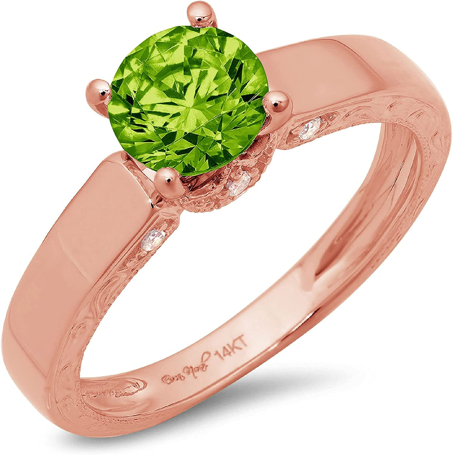 1.67ct Brilliant Round Cut Solitaire Flawless Genuine Natural Pure Green Peridot Gemstone VVS1 Designer Modern Statement with accent Ring Solid 14k Rose Pink Gold
