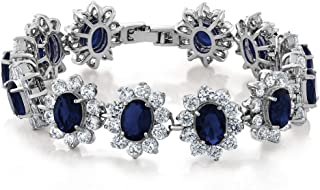 Gem Stone King 27.00 Carat Oval and Round Royal Blue Simulated Sapphire CZ Tennis Bracelet 7 Inch with Security Clasp
