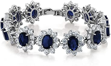 Gem Stone King 27.00 Carat Oval and Round Royal Blue Sapphire CZ Tennis Bracelet 7 Inch with Security Clasp