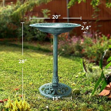 VIVOHOME 28 Inch Height Polyresin Lightweight Antique Outdoor Garden Bird Bath Green