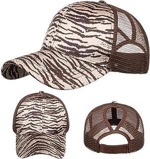 BJYXSZD Unisex Leopard Print Baseball Cap Adjustable Trucker Dad Hat Ponytail Messy Bun Ponycap