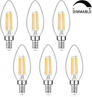 Dimmable LED Candelabra Bulbs 40W Equivalent, E12 LED Filament Light Bulb 2700K Warm White, Decorative Chandelier Lamp, B11 Clear Glass Candle Torpedo Shape, Pack of 6