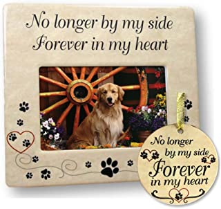 BANBERRY DESIGNS Pet Memorial Frame and Christmas Ornament - No Longer by My Side Picture Frame and Memorial Xmas Ornament - Pet Remembrance