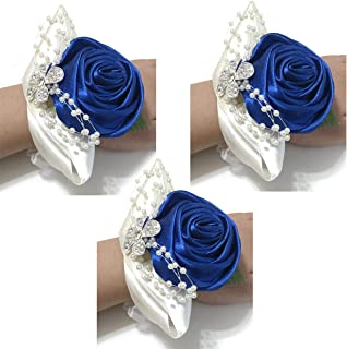 Corsages for Wedding Navy,Pack of 3,Wrist Corsage Prom Wrist Flower Corsage Flowers for Wedding Party,Graduation Party (Royal Blue)