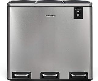 Poubelle de tri à pédale INOX brossé Les Collectors N°982 Capacité 54 L, Résistante, Cuisine, Séparateur de déchets 3 bacs...