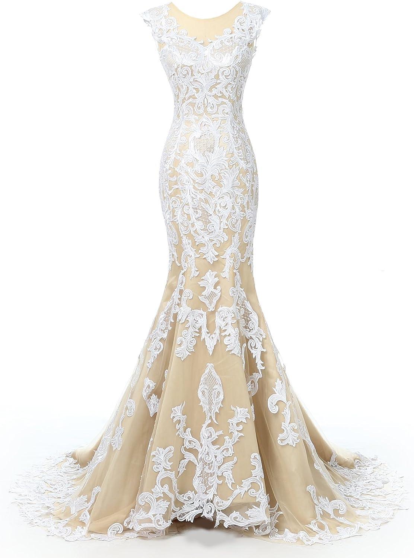 Alexzendra Mermaid Lace Sexy Champagne Wedding Dresses Illusion Back Cap Sleeves Bride Dresses vestidos de novia