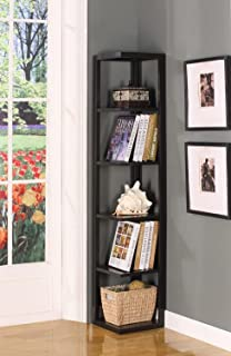 King's Brand Wood Wall Corner 5-Tier Bookshelf Case, Espresso Finish