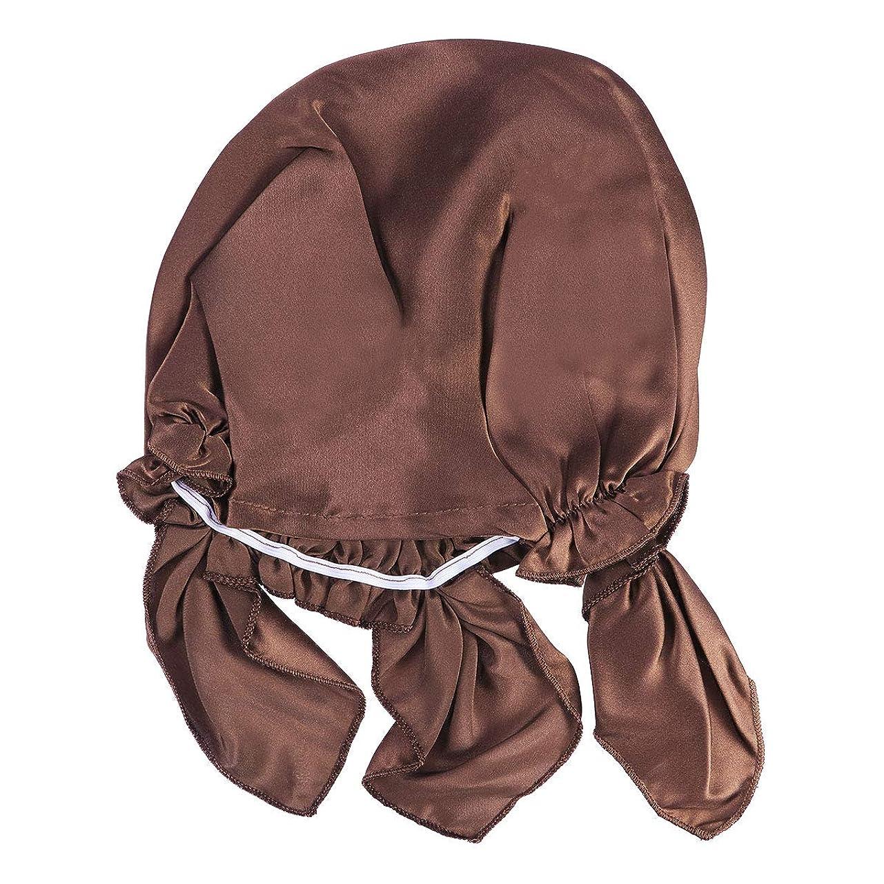 眉をひそめる神学校やるHealifty 桑のシルクの夜の睡眠キャップ毛の乾燥レースキャップ調整可能な弾性リボン