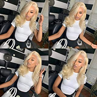 613 Lace Front Wig Platinum Blonde Body Wave Lace Front Human Hair Wigs Glueless Body Wave Wig with Baby Hair Wet and Wavy Wigs for Black Women Brazilian Virgin Remy Human Hair (10 Inch,#613)