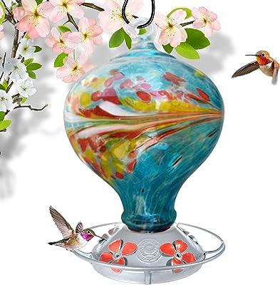 Grateful Gnome - Hummingbird Feeder - Hand Blown Glass - Blue Egg with Flowers - 36 Fluid Ounces (Renewed)