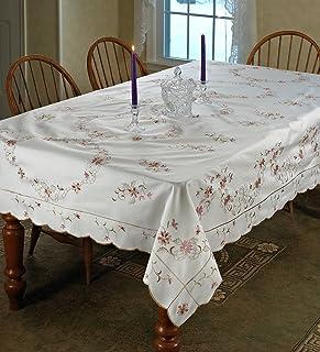 """Violet Linen Renaissance Design Oblong/Rectangle Tablecloth, 52"""" x 70"""", White"""