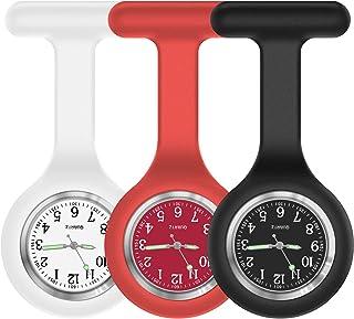 مجموعه بروشور ساعت 3 پرستار ، سیلیکون با پین / کلیپ ، براق در رنگ تیره ، طراحی کنترل عفونت ، مراقبت بهداشتی پزشک پرستار پزشک پیراپزشکی Fob Watch Fob - قرمز قرمز سیاه