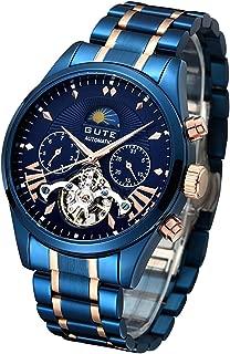 GuTe出品 腕時計 メンズ 自動巻きトゥールビョン風デザイン ステンレスバンド 日月表示 機械式 ブルー