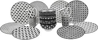 V VANCASSO Porcelain Ceramic Dinnerware Set of 4 Gray Patterned Service Set with Cups Bowls Dessert Dinner Plates for Brunc VANCASSO 16-Piece, Black & White, HARUKA,