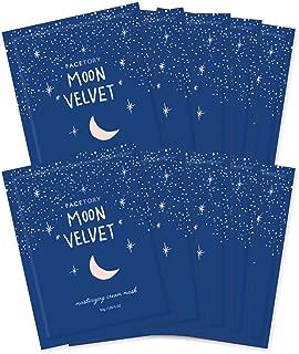 FaceTory Moon Velvet Moisturizing Cream with Jojoba Oil Sheet Mask (Pack of 10) - Moisturizing, Brightening, and Anti-Aging