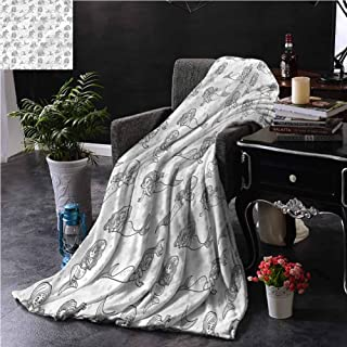 GAJIOE DIY Printing Blanket Mermaid livingroom Couch Bed Camping Fish Tails with Bubbles W39 xL39
