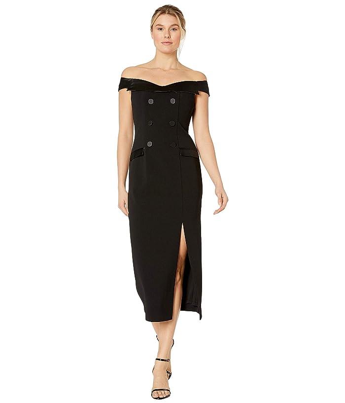 Adrianna Papell  Crepe Tuxedo Off-the-Shoulder Dress (Black) Womens Dress