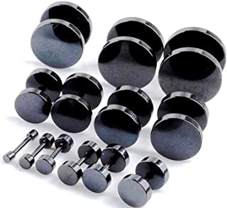 MEENAZ Valentine Jewellery Unisex Style Stainless Steel Black Screw Combo Piercing Stud Ear rings Earing Pierced Earrings ...