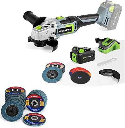 popular WORKPRO 20V Cordless Angle outlet sale Grinder Kit, 4-1/2 Inch and WORKPRO 20-Pack Flap Discs, 4-1/2-inch, Arbor sale Size 7/8-inch sale