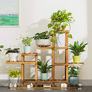 m·kvfa Multi-Tier Wood Plant Stand Planter Rack Flower Shelves Bonsai Display Storage Rack Outdoor Indoor Garden Patio Pots Holder Display
