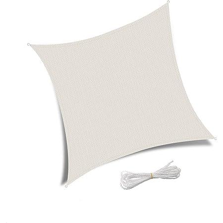 Sabbia Patio Shack Tenda a Vela Quadrata 3x3m Vela Ombreggiante Protezione Raggi UV HDPE Traspirante per Esterno Giardino Terrazza