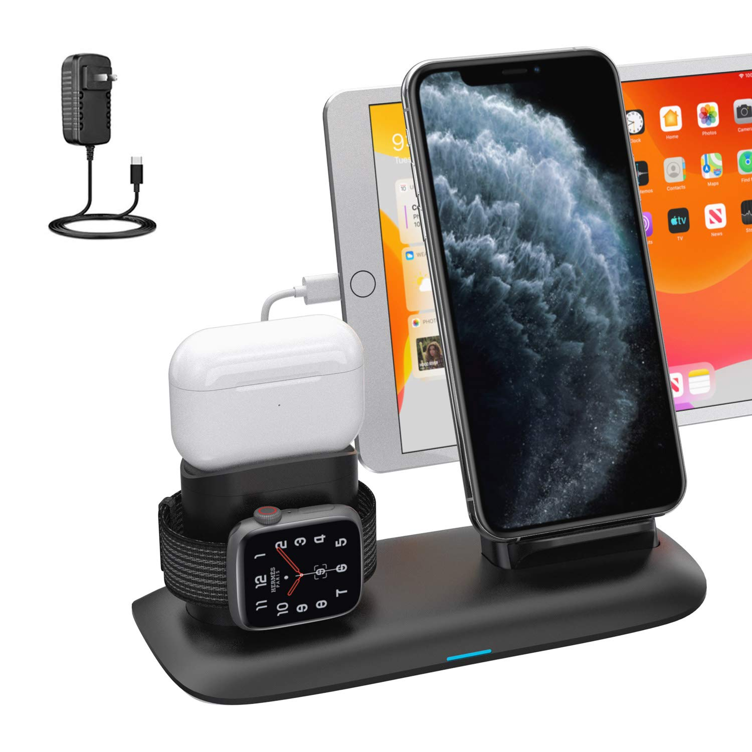 Amazon Com Wireless Charger 4 In 1 Wireless Charging Station For Ipad Apple Watch And Iphone Airpods Pro Wireless Charging Stand For Iphone 11 11 Pro Max X Xr Xs 8 Plus Apple Watch Charger 5 4 3