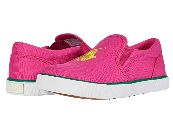 Polo Ralph Lauren Kids  Bal Harbour III (Little Kid) (Sport Pink Canvas/Yellow Polo Print) Girls Shoes