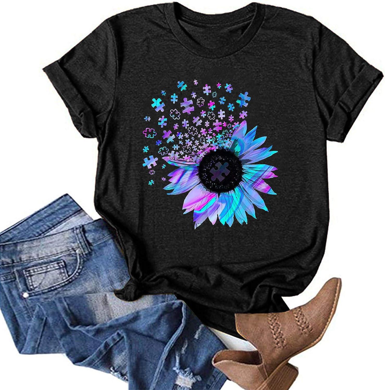 Women Short Sleeve Shirts,Women's Classic-Fit Pullover Sunflower Crewneck Summer T-Shirt Tops Shirts