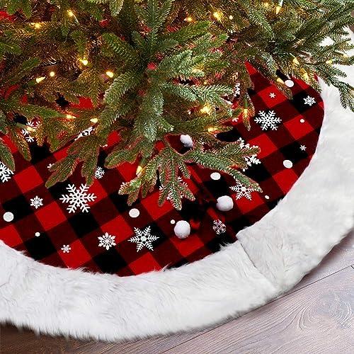 OurWarm Christmas Tree Skirt 48 Inch Luxury Buffalo Plaid Tree Skirt with Plush Faux Fur Trim for Rustic Christmas Ho...