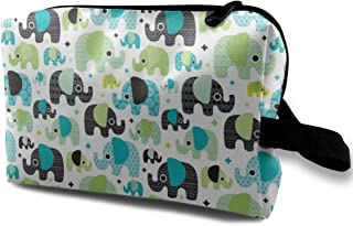 Blue Aztec Elephant Parade Travel Makeup Cute Cosmetic Case Organizer Portable Storage Bag for Women