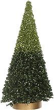 "Creative Co-Op Small Light & Dark Green Faux Glitter Tree Figurine, 4.75"""
