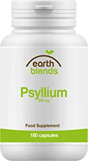 Earth Blends - Psyllium 300 mg, fuente de fibra, 180 cápsulas, adultos y niños mayores de 6 años