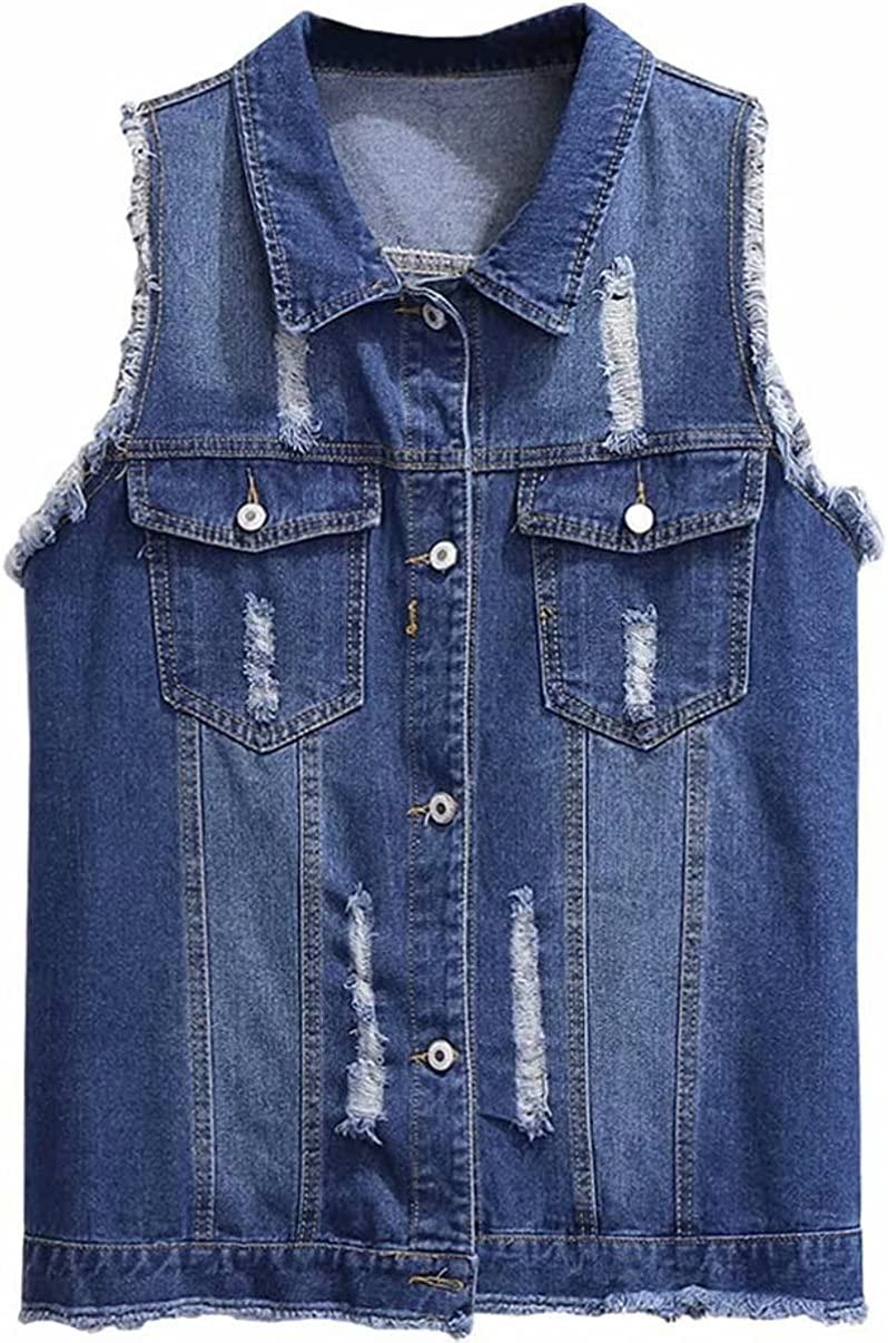 Womens Casual Plus Size Buttoned Distressed Ripped Denim Vest Sleeveless Jean Jacket with Fringe