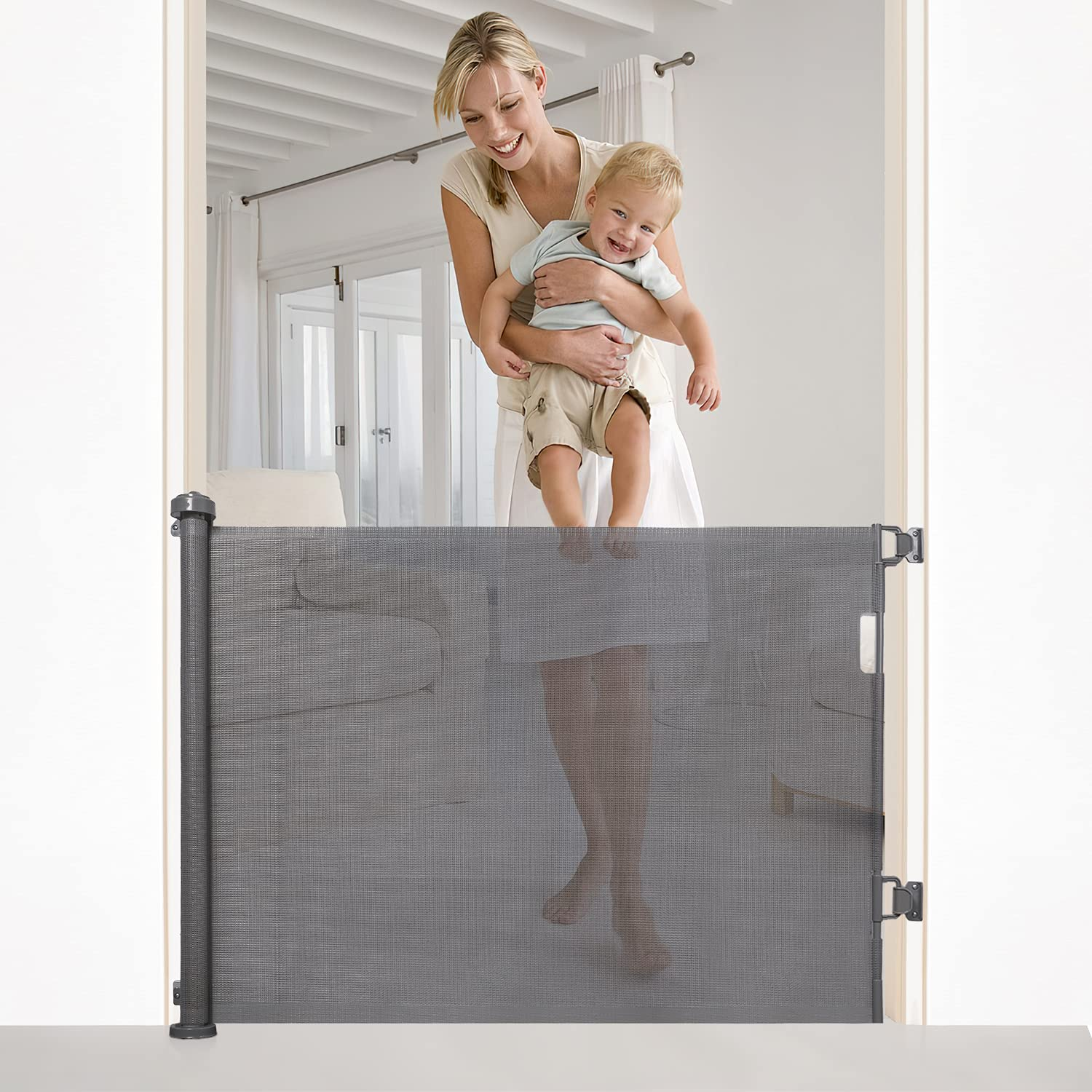 Retractable Baby Gate for doorways,Extra Wide Safety Kids or Pets Gate,34