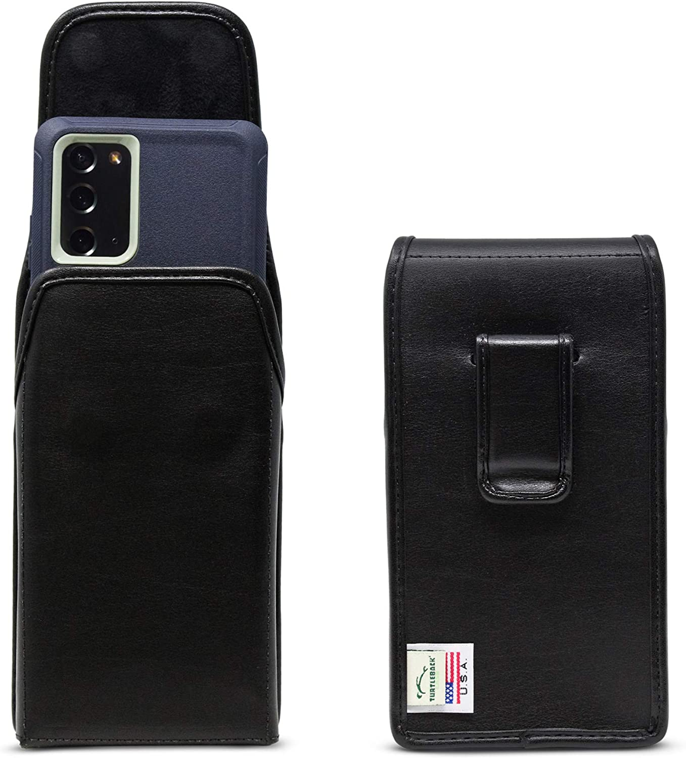 Turtleback Holster Made for Note 20 Fits w/OB Defender or Bulky Cases, Vertical Belt Case, Black Leather Pouch with Executive Belt Clip, Made in USA