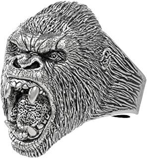 eejart Stainless Steel Ring Vintage Animal Angry Gorilla Ring, Suitable for Hiphop Biker Men's Fashion Domineering Punk Ring