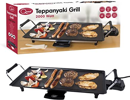 Quest 35490 Large Electric BBQ Non-Stick Teppanyaki Table Top Grill Cooking Plate with Adjustable Thermostat, Grease Drip Tray, 8 Spatulas and Cool Touch Handles-2000w, 18/10 Steel 2000 W, Black