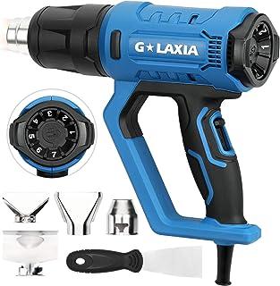 G LAXIA 2000W Pistola de Aire Caliente,con 3 Configuraciones de Calefacción (50 ℃ -600 ℃), 7 Diales de Ajuste de Temperatura,4 Boquillas y Rascadores