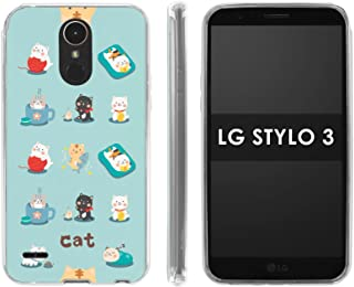 LG Stylo 3 [Stylo 3 Plus 2017] Silicone Rubber Gel Phone Cover [Case86] [Clear] Gel Gummy Phone Case - [Cats] for LG Stylo 3 [5.7