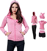 Women's 5pcs Yoga Suit, Sportswear,Sport Suits Activewear Set Fitness Running Athletic Tracksuits