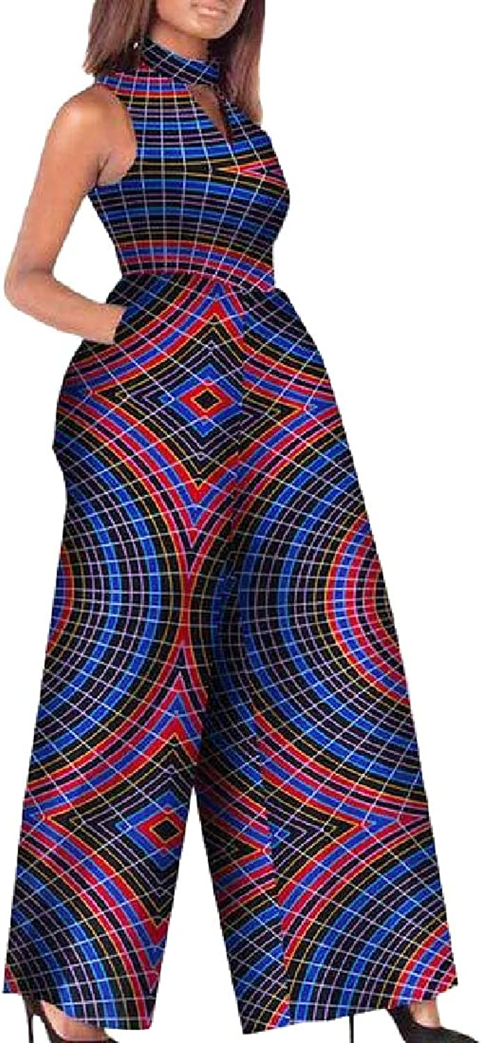 Tootca Women Cotton African Stylish Floral Printed Wide Leg Party Jumpsuit