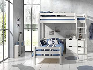 Lit Mezzanine 90x200 - Lit junior 90x200 2 sommiers Inclus et Commode 4 tiroirs Pino - Blanc