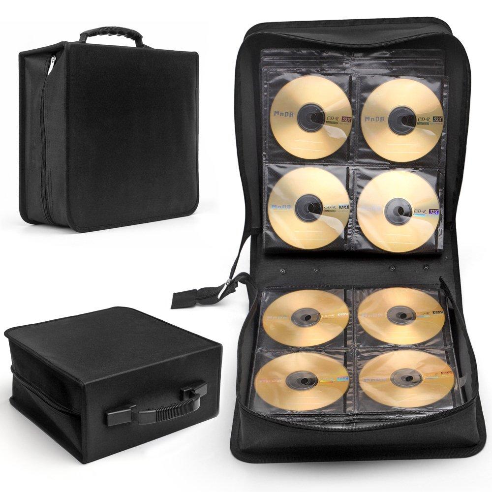 flexzion Disco de cd, DVD y funda de transporte 288 Capacidad Bluray Organizador de caja de almacenaje Soporte Contenedor de álbum Cartera Solution Página mangas cartón portátil en negro: Amazon.es: Electrónica