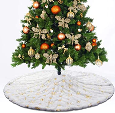 XP-Art 48 Inches White Faux Fur Christmas Tree Skirt Gold Snowflake Xmas Tree Skirt for Christmas Decorations Xmas Party Home