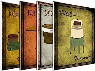 wallsthatspeak 4-Pack of 8x10in Vintage Laundry Room Wall Art Decor Prints Printed on..