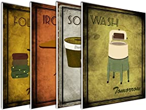 wallsthatspeak 4-Pack of 8x10in Vintage Laundry Room Wall Art Decor Prints Printed on 3/16 Inch Matboard Ready to Hang