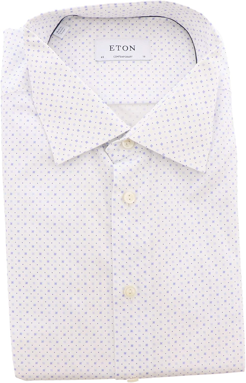 Eton Men's White with Blue Flower Contemporary Fit Dress Shirt - 48-19 (3 X)