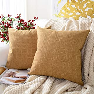 MERNETTE Pack of 2, Cotton Linen Blend Decorative Square Throw Pillow Cover Cushion Covers Pillowcase, Home Decor Decorations for Sofa Couch Bed Chair 18x18 Inch/45x45 cm (Gold)